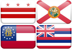 State Flag: DC, Florida, Georgia, Hawaii. District of Colombia, Florida, Georgia, and Hawaii flag rectangular buttons.  Part of set of US State flags all in 2:3 Royalty Free Stock Photography
