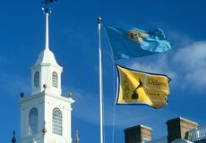 State Flag of Delaware. Agaisnt the sky Royalty Free Stock Photo