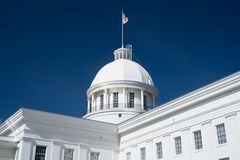 Alabama State Capitol Dome. State Flag on the dome of the Alabama State Capitol Building in Montgomery, Alabama stock images
