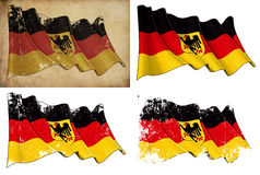 State Flag of Germany. Waving German State flag. 4 options for multiple uses 1) aged paper, 2) clean cut, 3) scratched surface and 4) under texture Royalty Free Stock Image