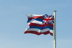 State flag of Hawaii. Flag of the Aloha-State Hawaii hoisting outdoors stock images