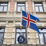 State Flag of Iceland. The state flag of Iceland in the embassy building of Helsinki royalty free stock image