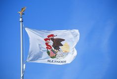 State Flag of Illinois. Against the sky Royalty Free Stock Photography