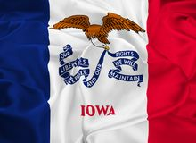 State Flag of Iowa. The state flag of Iowa, Des Moines - United States Stock Photo