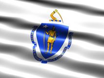 State flag of Massachusetts. Computer generated illustration of the flag of the state of Massachusetts with silky appearance and waves Stock Photos