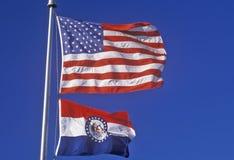 State Flag of Missouri. Agaisnt the sky Stock Photo