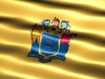 State flag of New Jersey. Computer generated illustration of the flag of the state of New Jersey silky appearance and waves Royalty Free Stock Image