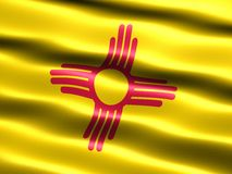 State flag of New Mexico. Computer generated illustration of the flag of the state of New Mexico with silky appearance and waves Stock Photo