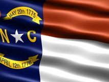 State flag of North Carolina. Computer generated illustration of the flag of the state of North Carolina with silky appearance and waves stock illustration