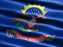 State flag of North Dakota. Computer generated illustration of the flag of the state of North Dakota with silky appearance and waves Royalty Free Stock Photo