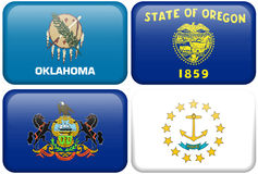 State Flag: Oklahoma, Oregon, Pennsylvania, RI. Oklahoma, Oregon, Pennsylvania, and Rhode Island flag rectangular buttons.  Part of set of US State flags all in Royalty Free Stock Photography