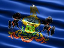 State flag of Pennsylvania. Computer generated illustration of the flag of the state of Pennsylvania with silky appearance and waves royalty free illustration