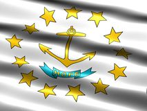 State flag of Rhode Island. Computer generated illustration of the flag of the state of Rhode Island with silky appearance and waves royalty free illustration