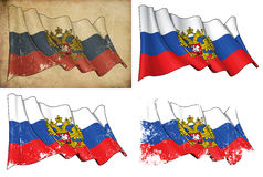 State Flag of Russia. Waving Russian State flag. 4 options for multiple uses 1) aged paper, 2) clean cut, 3) scratched surface and 4) under texture Royalty Free Stock Images