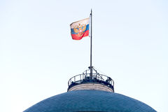 State flag of Russia. Russian flag on the dome of Senate in the Kremlin royalty free stock image