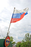 State flag of Russia. Russian flag flies at the stern of the ship royalty free stock images