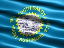 State flag of South Dakota. Computer generated illustration of the flag of the state of South Dakota with silky appearance and waves stock illustration