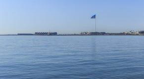 State Flag Square and Baku Crystal Hall Royalty Free Stock Image
