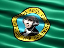 State flag of Washington. Computer generated illustration of the flag of the state of Washington with silky appearance and waves vector illustration