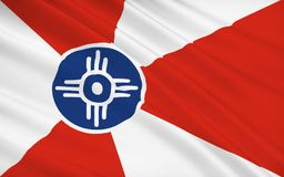 State Flag of Wichita - a city in the US, the largest locality o. The national flag of Wichita - a city in the US, the largest locality of Kansas. Located in the stock illustration