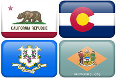 State Flags: CA, CO, Connecticut, Delaware. California, Colorado, Connecticut, and Delaware flag rectangular buttons. Part of set of US State flags all in 2:3 stock illustration