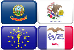 State Flags: Idaho, Illinois, Indiana, Iowa. Idaho, Illinois, Indiana, and Iowa flag rectangular buttons. Part of set of US State flags all in 2:3 proportion royalty free illustration