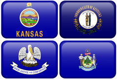 State Flags: Kansas, Kentucky, Louisiana, Maine. Kansas, Kentucky, Louisiana, and Maine flag rectangular buttons. Part of set of US State flags all in 2:3 vector illustration