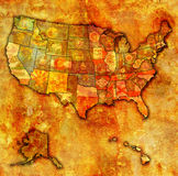 State flags on map of usa Stock Image