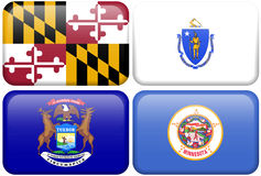 State Flags: Maryland, Massachusetts, Michigan, MN. Maryland, Massachusetts, Michigan, and Minnesota flag rectangular buttons.  Part of set of US State flags all Royalty Free Stock Image