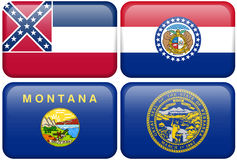 State Flags: Mississippi, Missouri, Montana, NE. Mississippi, Missouri, Montana, and Nebraska flag rectangular buttons.  Part of set of US State flags all in 2:3 Stock Photography