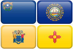 State Flags: Nevada, New Hampshire, New Jersey, NM. Nevada, New Hampshire, New Jersey, and New Mexico flag rectangular buttons. Part of set of US State flags all stock illustration