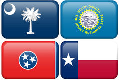 State Flags: SC, SD, Tennessee, Texas. South Carolina, South Dakota, Tennessee, and Texas flag rectangular buttons.  Part of set of US State flags all in 2:3 Stock Images