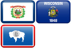 State Flags: West Virginia, Wisconsin, Wyoming. West Virginia, Wisconsin, and Wyoming flag rectangular buttons. Part of set of US State flags all in 2:3 vector illustration
