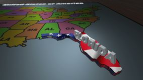 Florida pull out from USA states abbreviations map. State Florida pull out from USA map with american flag on background. A map of the US showing the two-letter stock footage