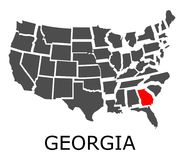 State of Georgia on map of USA Royalty Free Stock Photo