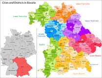 State of Germany - Bavaria. Administrative division of Germany. Map of Bavaria with cities and districts vector illustration