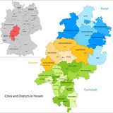 State of Germany - Hesse. Administrative division of Germany. Map of Hesse with cities and districts royalty free illustration