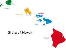 State of Hawaii. Map of Hawaii state designed in illustration with the counties and the county seats. (Map is hight resolution vector illustration