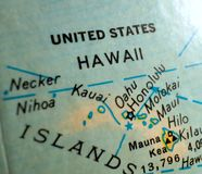 State of Hawaii map USA focus macro shot on globe for travel blogs, social media, web banners and backgrounds. stock photos