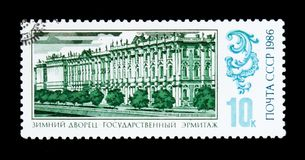The State Hermitage is a museum of art and culture in Saint Petersburg, Russia, circa 1986. MOSCOW, RUSSIA - JUNE 26, 2017: A stamp printed in USSR Russia shows royalty free stock images