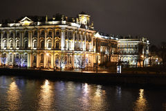 The State Hermitage Museum and Neva at night Stock Photos