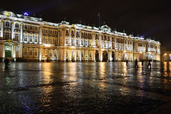The State Hermitage Museum at night stock photos