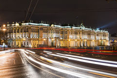 The State Hermitage Museum at night lights, Saint-Petersburg Stock Photo