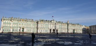 The State Hermitage Museum in sunshine Saint-Petersburg stock photos