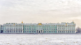 The State Hermitage Museum. winter view from the frozen Neva Stock Image