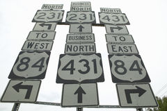 State highway signs pointing in all directions in Southeast USA Stock Photography