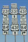 State highway signs pointing in all directions in Southeast USA Stock Photos