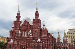The State Historical Museum Inside Red Square in Moscow stock images