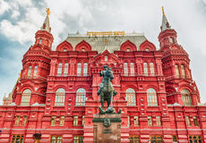 The State Historical Museum and Marshal Zhukov statue, Moscow, R stock images