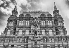 The State Historical Museum and Marshal Zhukov statue, Moscow, R Stock Photography